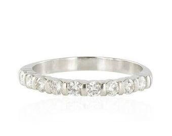 Half white gold diamond wedding band