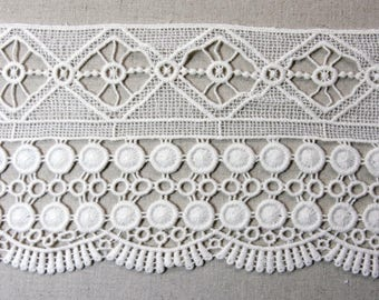 """Multipurpose Cotton Lacework Trims Embroidered Cotton Lace Trim  Ivory 12cm(4.7"""") Wide 1Yd #mj"""