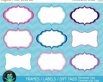 75% OFF SALE Label Frames Clipart, Vector Graphics, Commercial Use, Label Frames Vector, Digital Clip Art, Gift Tags, Digital Images - UZ629