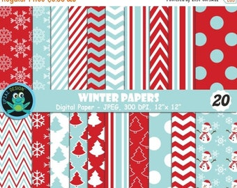 75% OFF SALE Winter Digital Papers, Christmas, Christmas Scrapbook Papers, Background, Commercial Use - UZDP1857