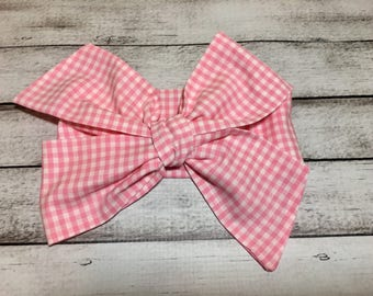 TIED, Gingham Check, Pink Headwrap,,Baby Headband, Toddler Bows, Big Bow Headwrap, Headband, Summer, Spring, Infant Headwrap, Baby Girl