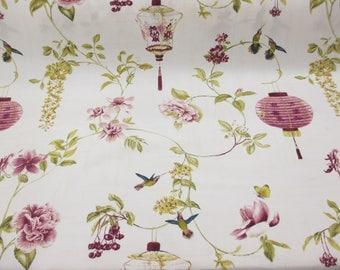 Ivory & Pink Floral 100% Cotton Curtain,Furnishing Edinburgh Weavers Fabric.