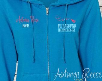 Monogrammed Ladies/Unisex Full-Zip Hooded Sweatshirt Ultrasound Sonography Tech Customized Personalized XS - 5XL Jacket