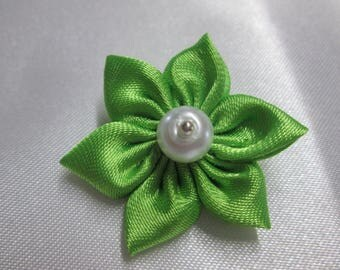 Neon Green satin with a flower is adorned with an ivory Pearl Center