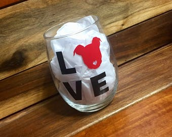 Pit Bull Wine Glass | Pitbull Stemless Wine Glass | Personalized Glass | Gift for Her | Staffordshire Terrier Gift | Pit Bull Gift