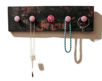 wood jewelry rack - wood jewelry display rack - organizer with knobs - jewelry rack - custom jewelry display - jewelry storage - jewelry