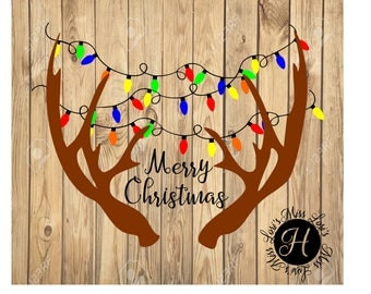 Merry Christmas Antlers Christmas lights. Wood sign DFX commercial license  Deer  Buck  SVG   cut file  t-shirts