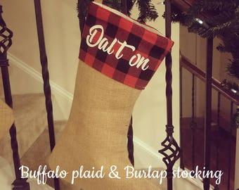 Ready to ship, buffalo plaid stocking, buffalo plaid & burlap stocking, personalized stocking, rustic christmas stocking, monogrammed