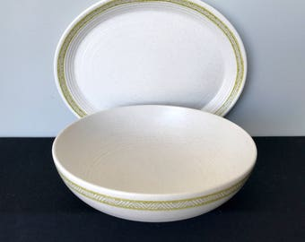 Franciscan Hacienda Green Round Serving Bowl and Oval Platter