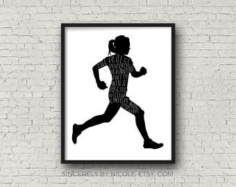 Running, Running Quotes, Gift For Runner, Motivational Quotes. Motivational Poster, Marathon Gift, Inspirational Wall Art Fitness Motivation