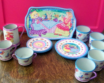 A Vintage Childs Tin Tea Set