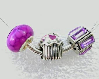 Cupcake Enamel Hearts Crystal Murano 3 Pieces Set Fit Pandora European Style Snake Chain Bracelets