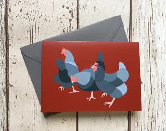 Hens greeting card - blank inside