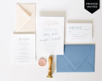 Dusty Blue Wedding Invitation Package - Bohemian Wedding Invitations - Elegant Wedding - Boho Wedding Invite - Blush Floral - Custom Printed