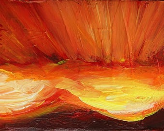Rays of Sunlight Red Sky IV, original acrylic painting on canvas, 7 x 5
