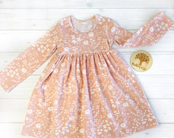 Girls Floral long sleeve dress (size 2-8)