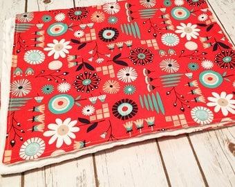 Modern Floral Minky Baby Blanket
