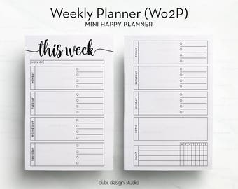 Week on Two Pages, MINI Happy Planner, Weekly Planner, Undated Planner, Habit Tracker, Printable Planner, Daily Planner, MINI MAMBI