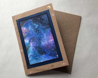 Galactic greeting card. Hand made Space print card for any occasion