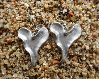 Heavy Silver Heart Earrings ~ Collected and connected with love :)