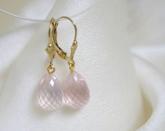 Solid Gold earrings Leverback gemstone Rose quartz Pampeln Klappbrisuren Earrings
