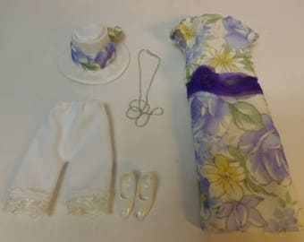 OOAK DOLL Outfit Organdy Dress for 1/6Custom Doll Obitsudoll27