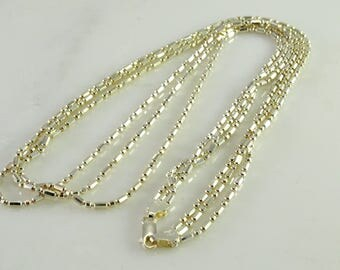 """24"""" Three Strand Sterling Silver Necklace Milor Italy 925"""