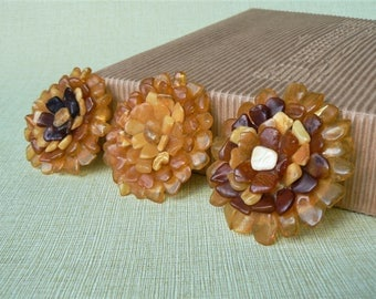 Ambers BROOCH as Flower/ Handmade Brooch with Ambers Pieces/ Crocheted Base/ Latvia
