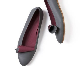 Grey leather shoes, Leather shoes, Handmade shoes, Ballet flats, Women's shoes, Leather flats, Pointy flats,  Women flats