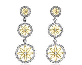 ON SALE 1.31 Carat Diamond Circle Drop Earrings 14K Two Tone Gold