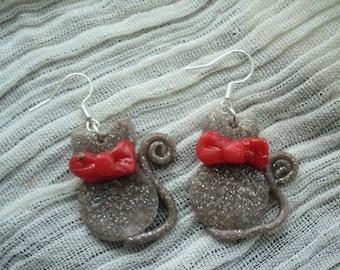 Earrings-Drop Earrings-Earrings in paste fimo-earrings cat-earrings child