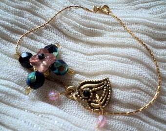 Beads-heart charm Swarovski Crystal bracelet