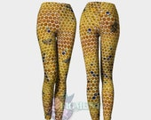 Honeycomb Leggings - Bee Leggings, Activewear, Honey Bee Leggings, Plus Size Leggings, Apiary Leggings, Nature Leggings, Festival Leggings