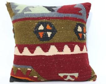 16x16 Turkish Kilim Pillow Sofa Pillow 16x16 Naturel Kilim Pillow Handwoven Kilim Pillow Decorative Kilim Pillow Cushion Cover SP4040-2500