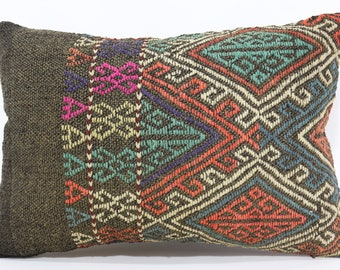 16x24 Embroidery Embroidered Kilim Pillow Boho Pillow 16x24 Turkish Lumbar Kilim Pillow Turkish Kilim Pillow Ethnic Pillow SP4060-591