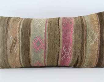 12x24 Turkish Kilim Pillow Ethnic Pillow 12x24 Boho Pillow Handwoven Kilim Pillow Decorative Kilim Pillow Cushion Cover  SP3060-977