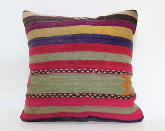 20x20 Anatolian Kilim Pillow Sofa Pillow Striped Kilim Pillow 20x20 Handwoven Kilim Pillow Multicolor Kilim Pillow Cushion Cover SP5050-1936