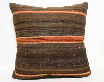 striped turkish kilim pillow 20x20 inches vintage kilim pillow turkish handmade pillow home decor throw pillow ethnic pillow SP5050-2422