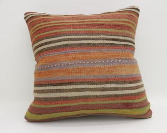 Striped Pillow Orange Pillow Bohemian Cushion Cover Pillow 20x20 Large Turkish Kilim Pillow Multicolor Kilim Pillow Bed Pillow  SP5050-2688