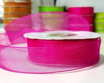 20 meters of Ribbon width 20 mm 2cm 177 Fuchsia Organza Ribbon