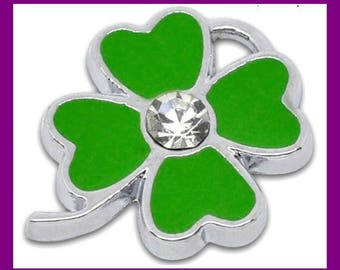 Lucky enamelled Silver Flower charm and rhinestone pendant: 4 leaf clover