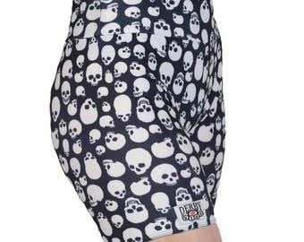 Black and White Skull Biker Shorts