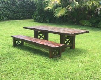 Handcrafted Farmhouse Rustic Wood Dining Table & Matching Bench 8ft ONE OF A KIND