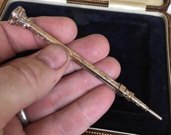 Excellent antique Victorian 9ct gold sliding pencil