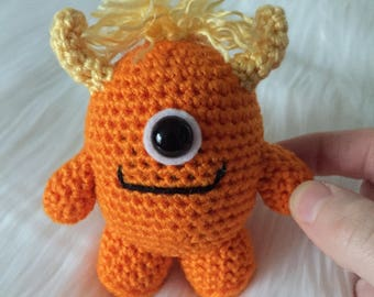 Made to Order - Orange Monster, Crochet Monster, Amigurumi Monster, Monster Plush, Crocheted Stuffed Animal, Little Monster, Cute Monster
