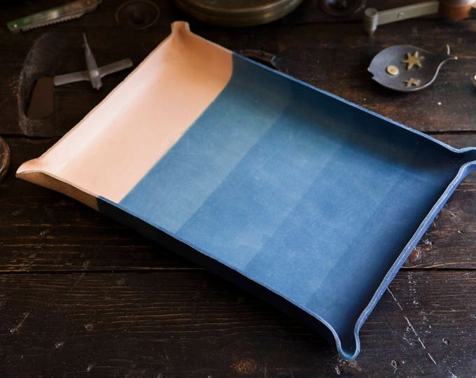 Made to Order 10x15 Giant Indigo Dipped Leather Catchall Console Tray Made in USA