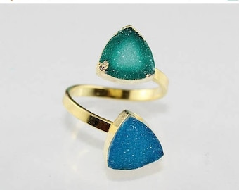 SPECIAL OFFER 5% OFF Gorgeous Natural Green,Sky Blue Sugar Druzy 24k Gold Plated Free Size Adjustable Ring For Women/Girls Promise ,Party &