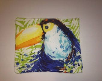 Bird, toucan, cosmetic, toiletries, bag