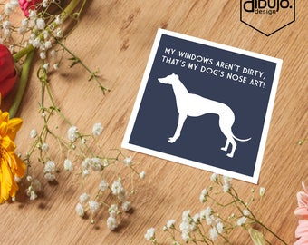 Greyhound Nose Art Print - Navy