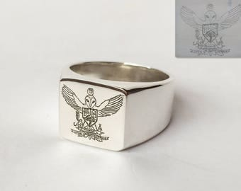 Coat of Arms Family Crest Ring, Crest Engraved Ring, Personalized Ring, Picture Ring, Signet Ring, Special Gift for your man, Pinky Ring